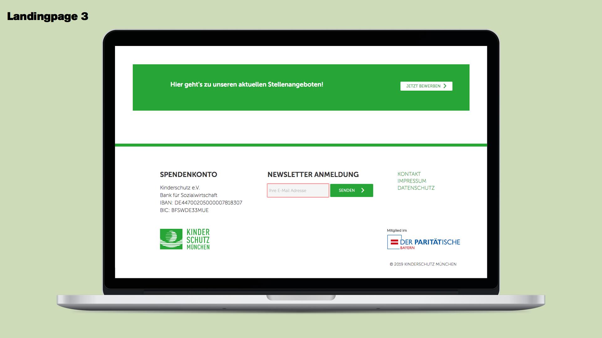 Landingpage Kinderschutz München Recruiting Kampagne